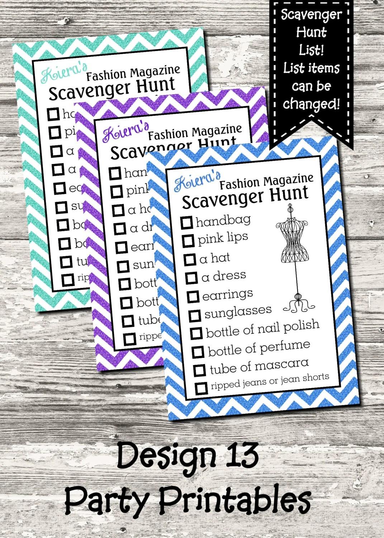 Fashion Magazine Scavenger Hunt List 10 Color Choices Digital