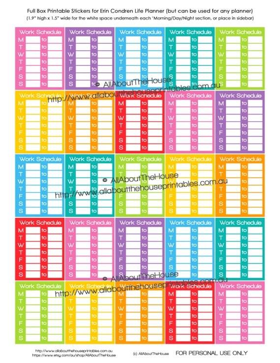 Work Planner Stickers Printablle Erin Condren Full Box Rainbow sidebar work schedule shift routine tracker mambi happy planner FB197