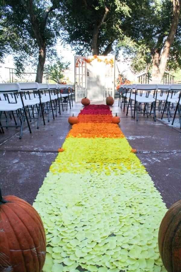 Rustic Wedding Aisle Runner Red Orange & Yellow Rose Petal