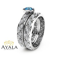 London Blue Topaz Engagement Ring Set in 14K White Gold Art