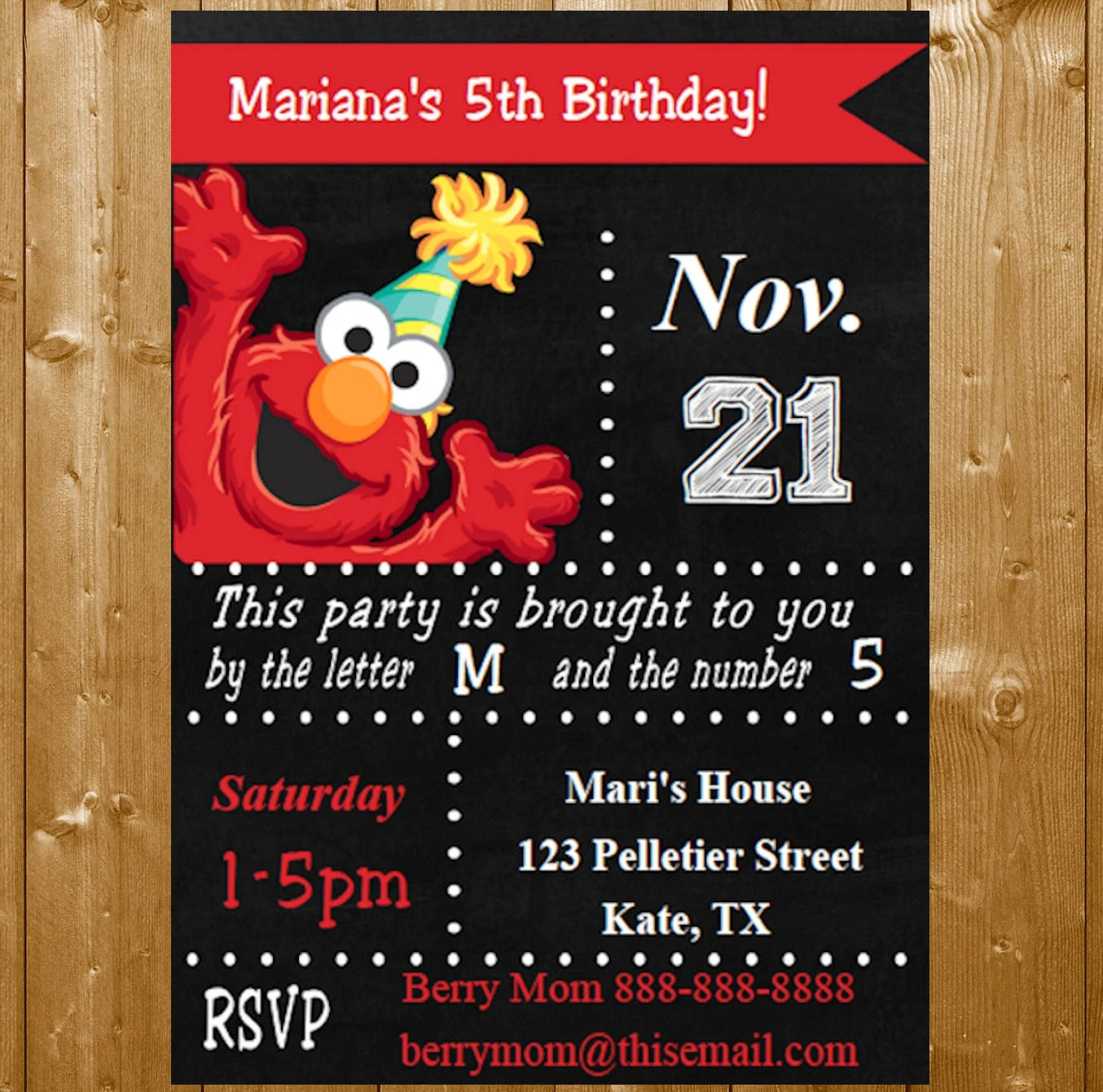 Elmo Invitation INSTANT DOWNLOAD Elmo Party Invitations