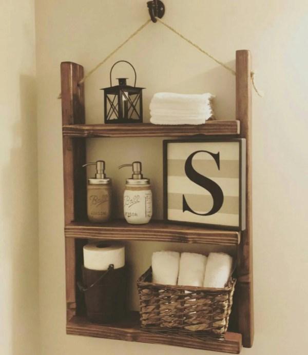 Rustic Bathroom Shelf Farmhouse Decor Csquaredcustoms