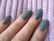 fake nails olive green almond oval