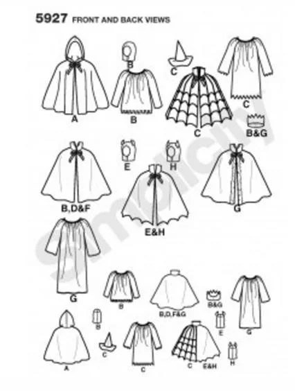 CAPES Uncut Sewing Pattern Simplicity 5927 Size S by