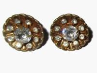 CORO Earrings Vintage Crystal Screw Back Prong Set Gold