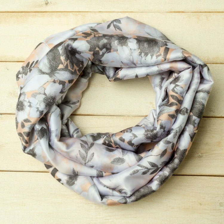 Silky Floral Scarf, Infin...