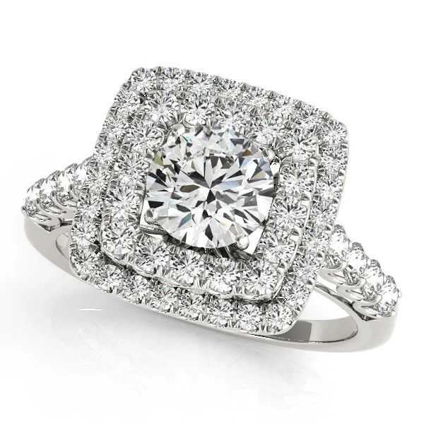 Square Halo Engagement Ring Square Engagement Ring Double