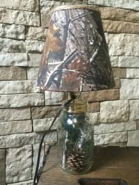 Mason jar lamp with Real Tree camo lampshade.