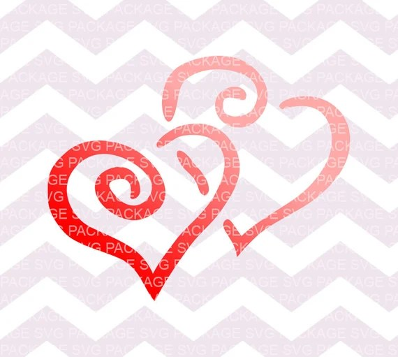 Download SVG Cutting File Two Heart Svg Red Pink Hearts Clipart Love