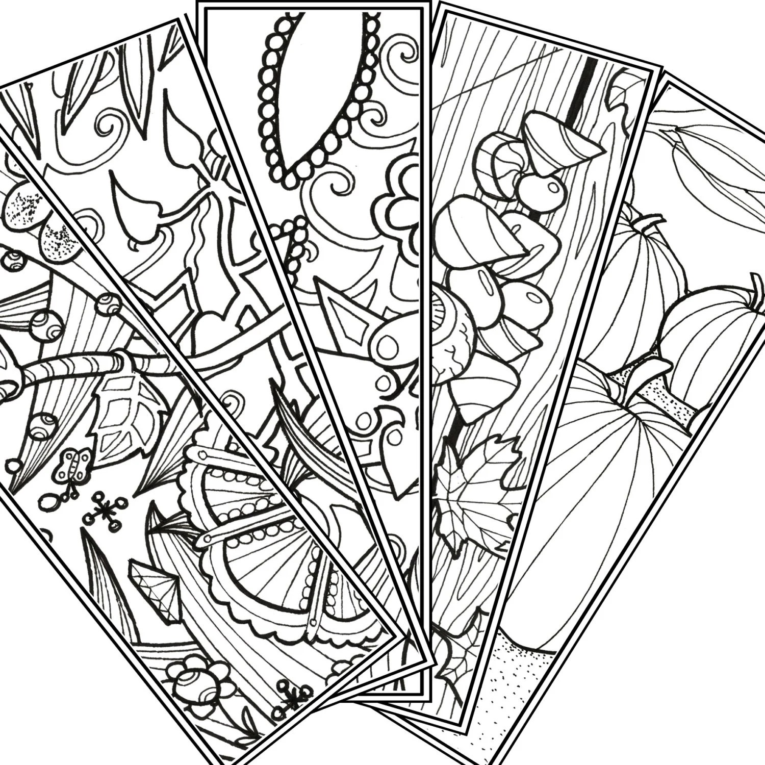 Items similar to 5-unique Bookmarks for coloring, Adult