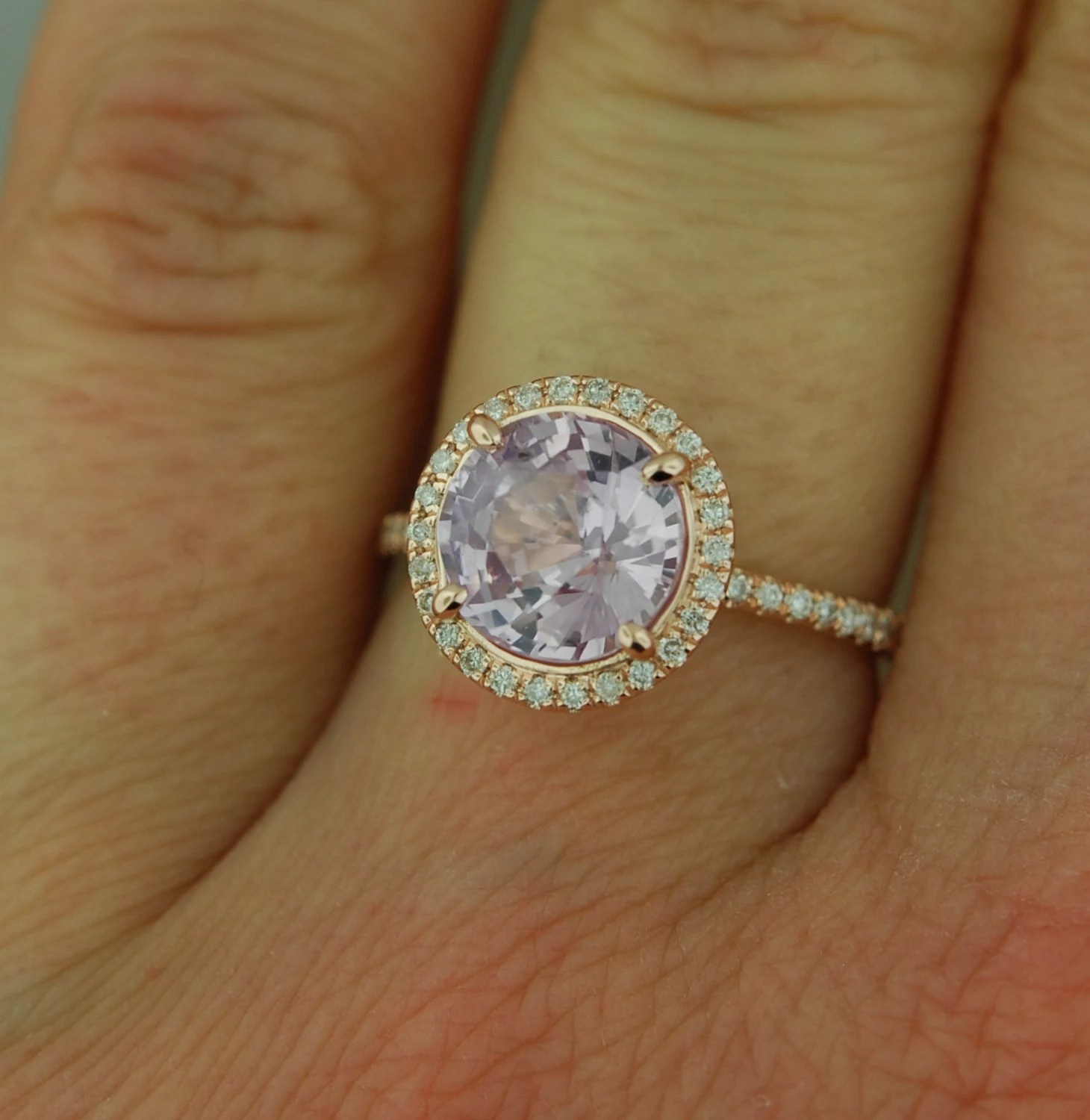 Rose gold engagement ring lavender purple by EidelPrecious
