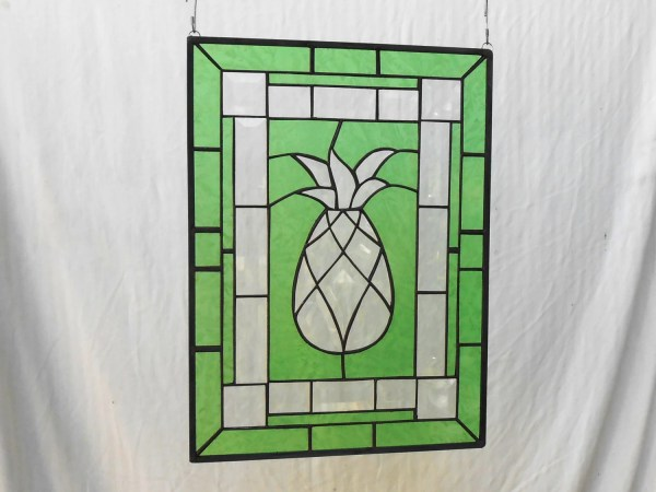 Beveled Pineapple Stained Glass Panel Unique Window