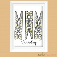 Clothespin Laundry Room Wall Art Printable Laundry Room