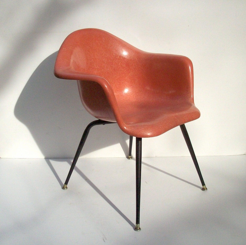 fiberglass shell chair retro red kitchen chairs vintage chromcraft mid century modern