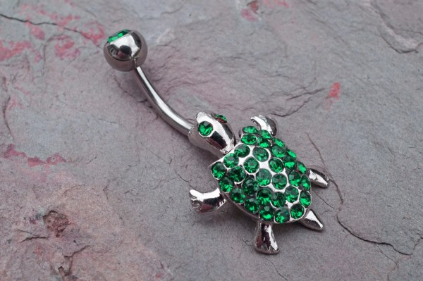 Belly Button Rings Emerald Green Turtle Jewelry