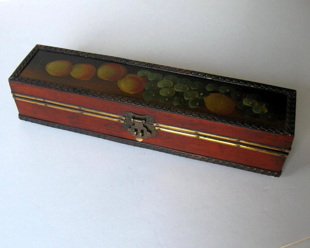 Long Vintage Hand Painted Wooden Box Hinged Wood Box Fruit