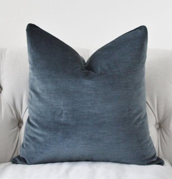 Dark Gray Pillow Cover Charcoal Grey Velvet by MotifPillows