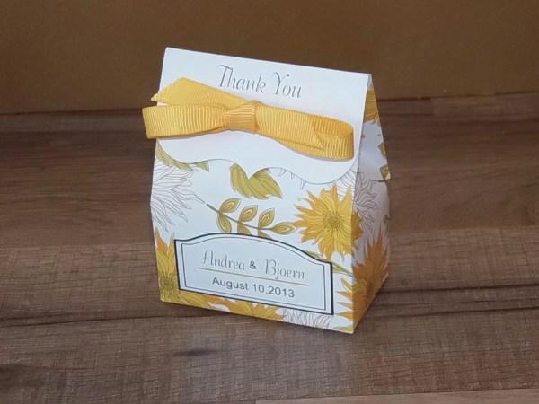 Sunflower Favor Bags Wedding Illustrationgirl