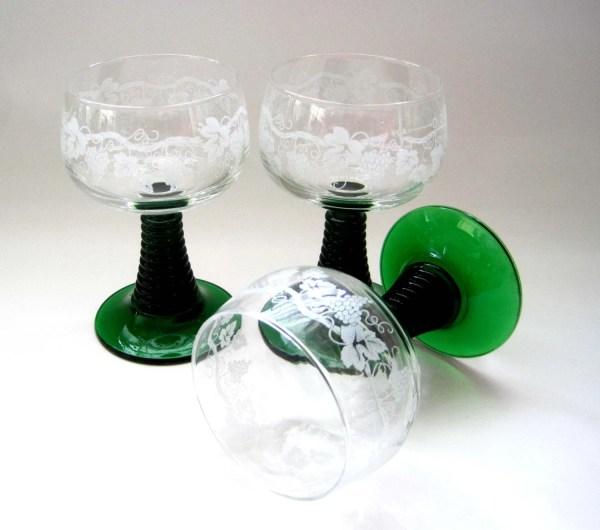 3 Luminarc France Green Stemmed Wine Goblets Arcoroc Ruwer