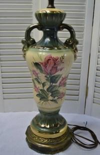 Vintage Table Lamp Ceramic with Brass Metal Base Floral Rose