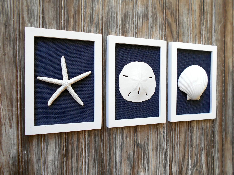 Cottage Chic Set Of Beach Wall Art Beach House Decor Navy