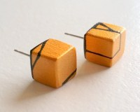 Gold Painted Wood Stud Earrings by HueWood on Etsy