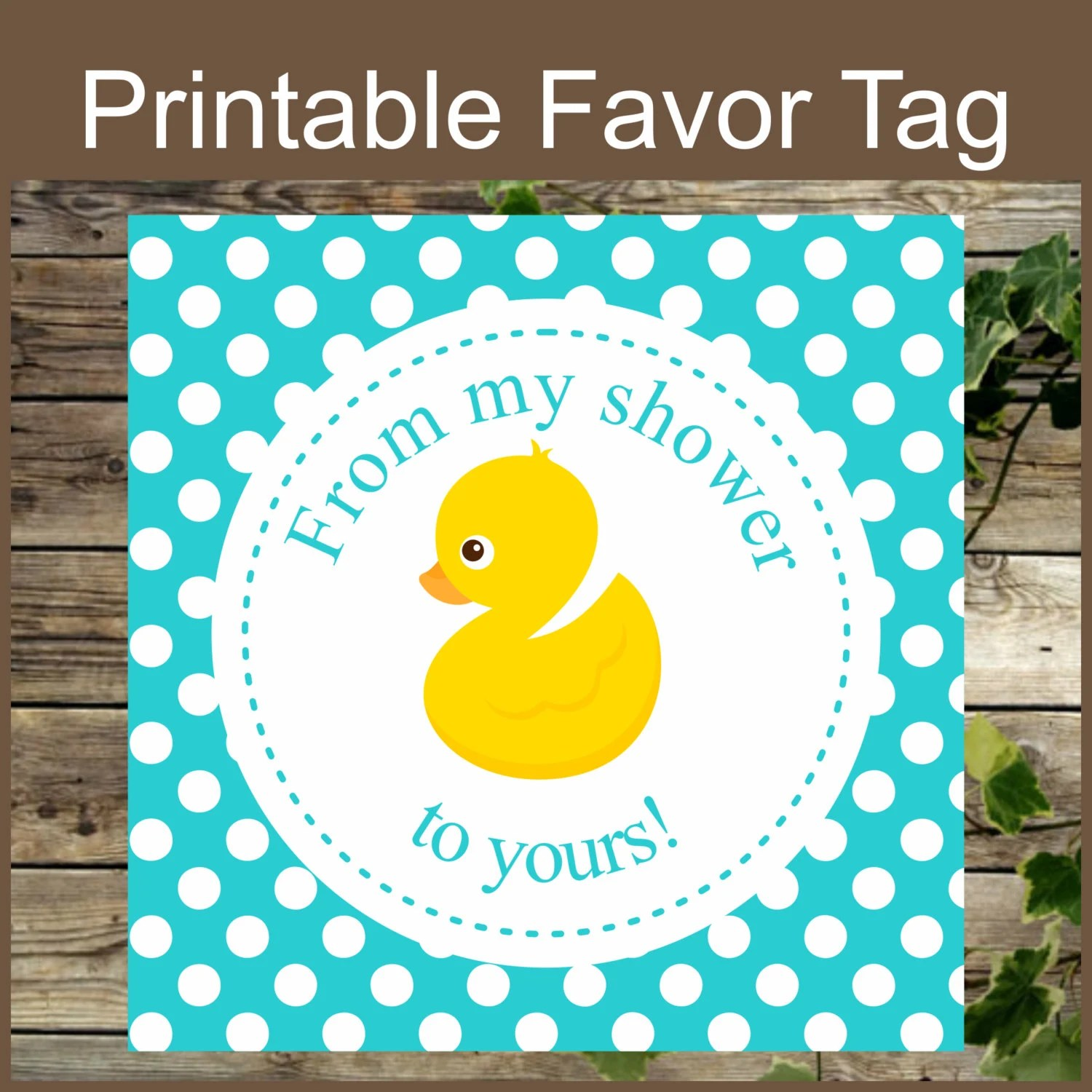 Ducky Favor Tag Instant Download Printable Baby Shower