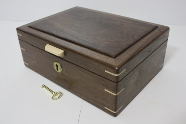 Locking Handmade Black Walnut Wood Box. Valet Box Keepsake