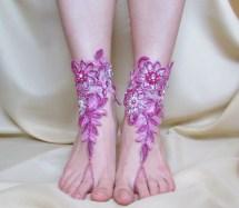 Radiant Pink Bridal Lace Barefoot Sandals Wedding Flower