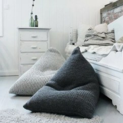 Adult Size Bean Bag Chair Heated Office Chunky Merino Wool Grey Knitted Kids /