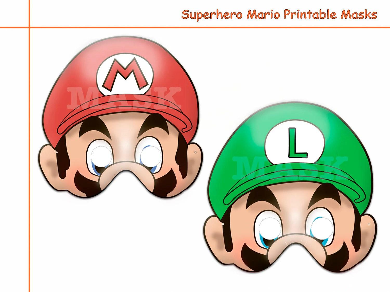 Unique Hero Mario Printable Masks Birthday Photo Props Kids