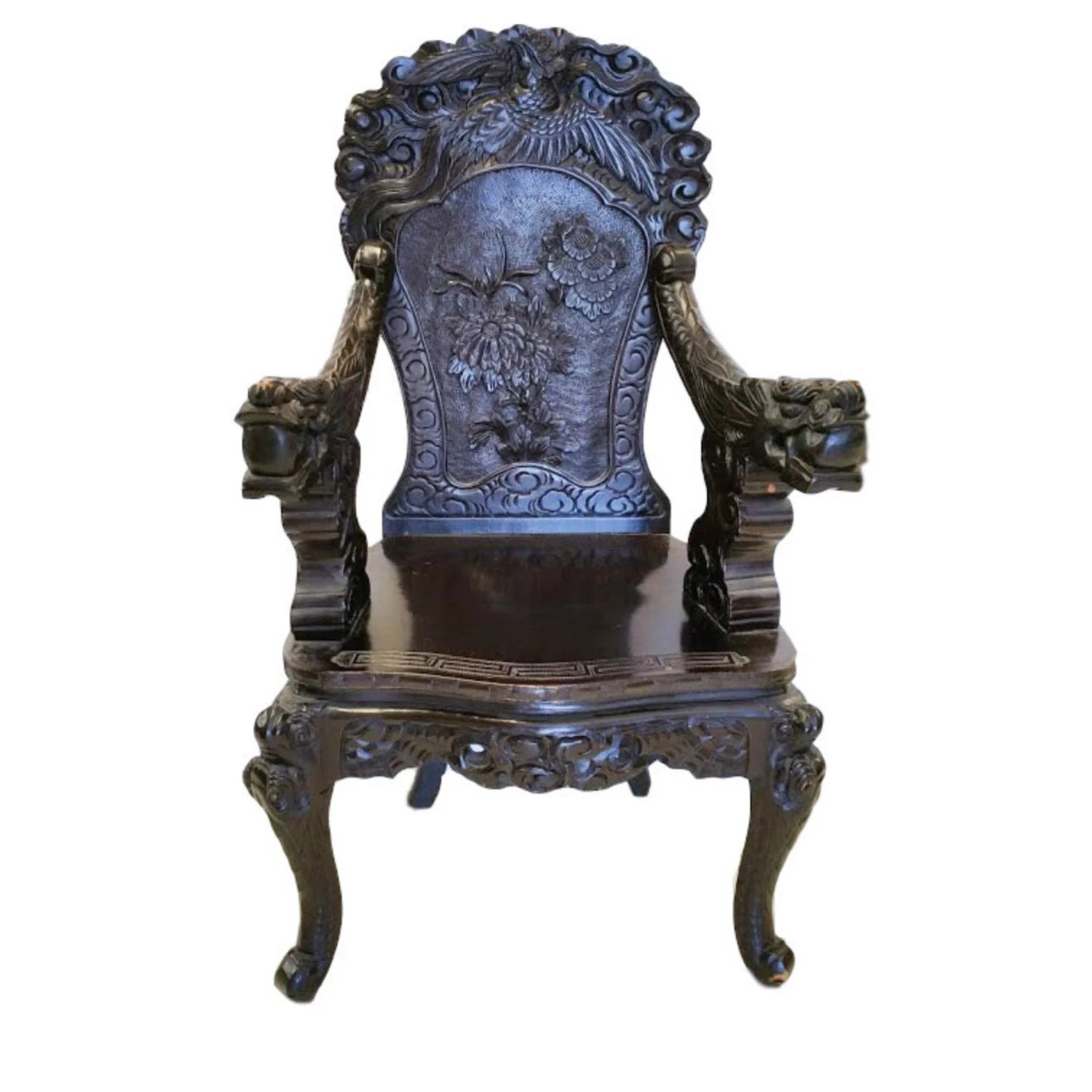 antique chinese dragon chair worn leather vintage hand carved