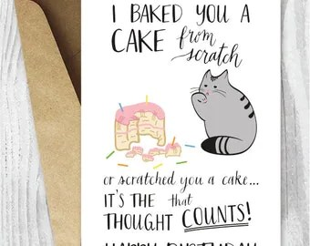 Birthday Card From The Cat Printable Funny By