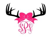 bow with antlers monogram decal