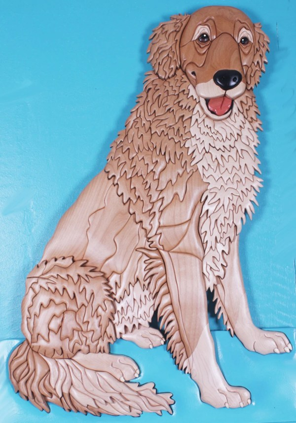 Golden Retriever Wood Intarsia Sculpture