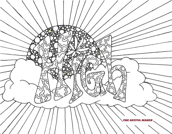 High Sunshine Adult Coloring Page by The Artful Maker