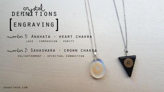 Anahata & Sahaswara (Heart and Crown Chakra) Engraved Crystal Pendants - Opalite and Onyx