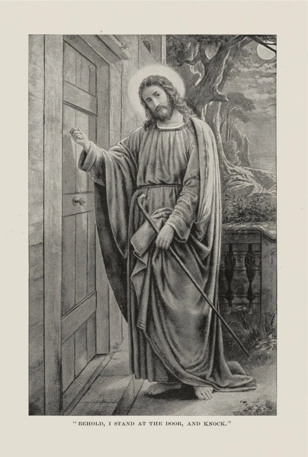 Antique Print Jesus Knocking Door 1888 Christian Art Christ