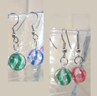 Items similar to Swirled Christmas Ball Ornament Earrings ...