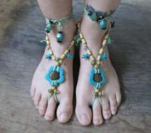 Boho Barefoot Sandals Turquoise Footless