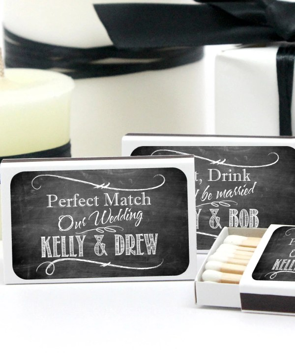 Wedding Favor Matches Chalkboard Personalized Matchboxes