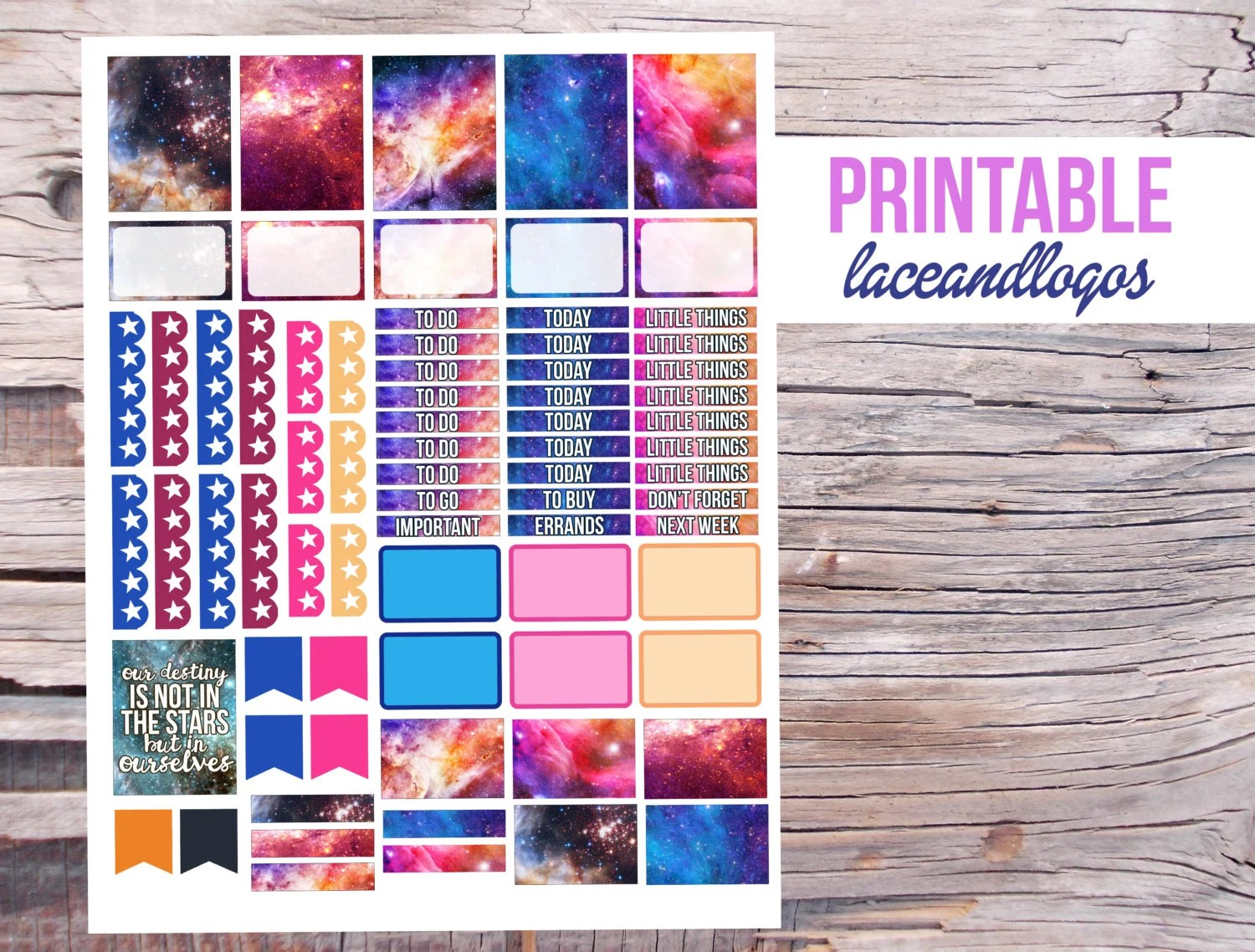 Printable Planner Stickers Galaxy Space Hipster Stars Sky
