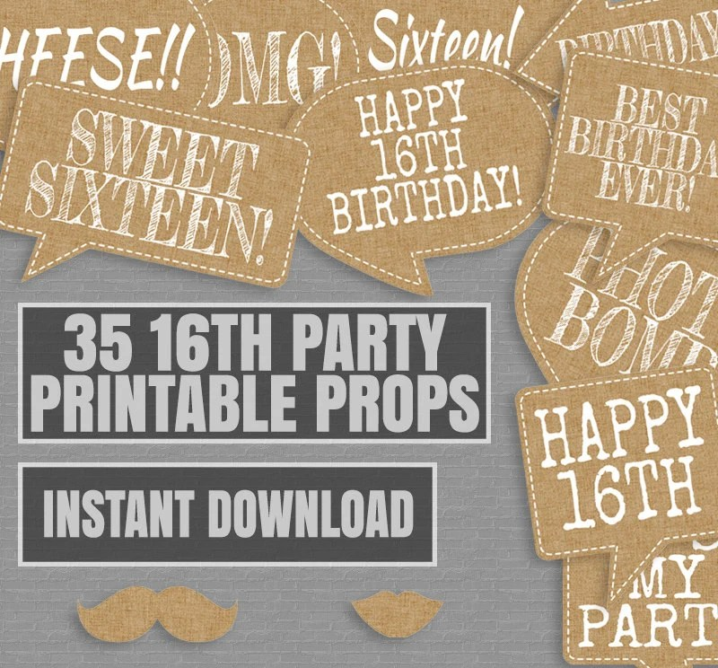 35 Rustic Sweet Sixteen Printable Props Photo Booth Burlap