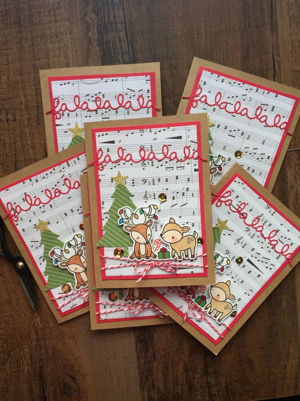 Hand Stamped Falalala Christmas Card