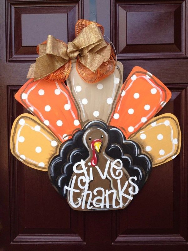 Turkey Door Hanger Fall Gilded Polka