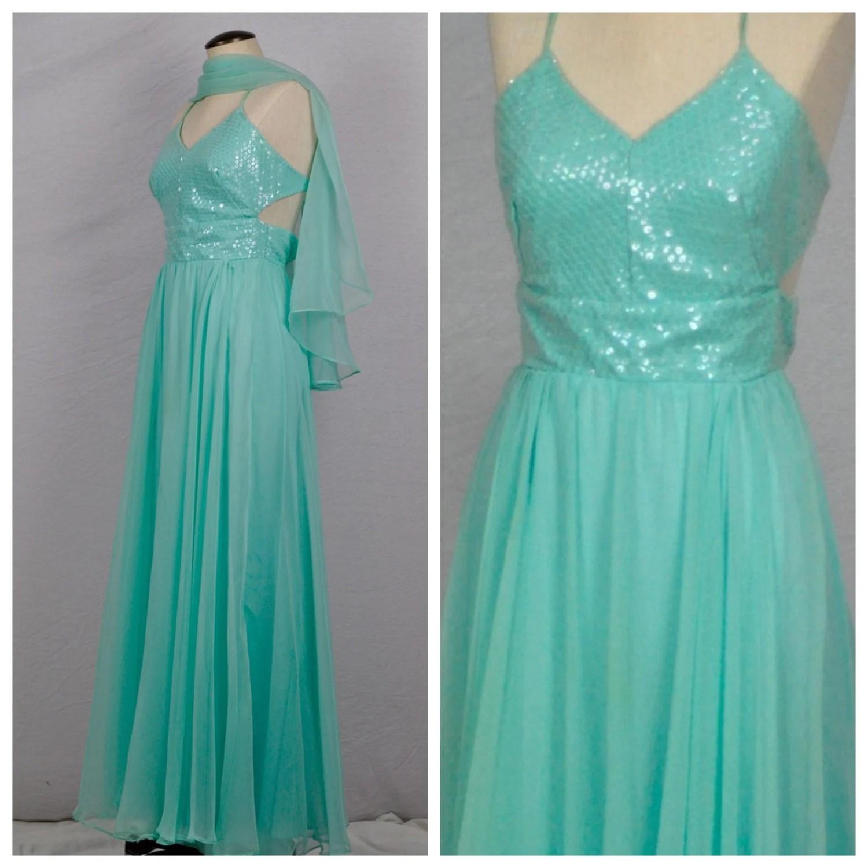 Vintage 1980s Prom Dress  80s Aqua Prom Dress Blue Green