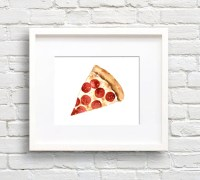 Pizza Watercolor Pizza Slice Art Print Wall Decor