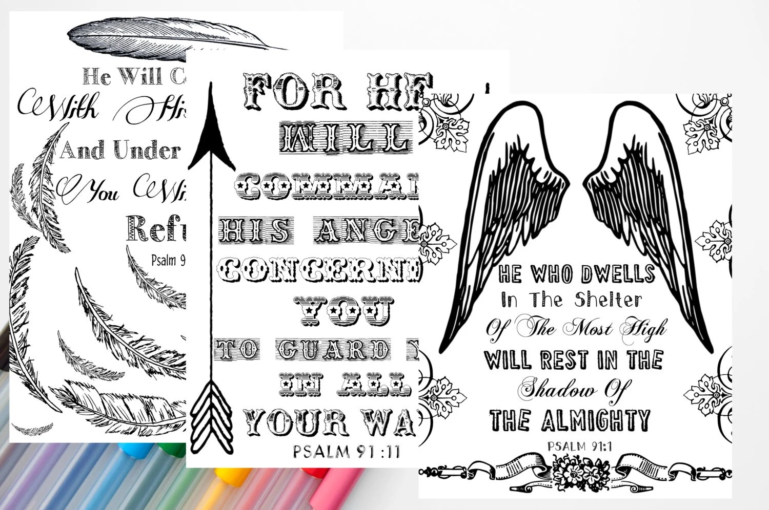 Set Of 3 Psalm 91 Coloring Sheets Bible Journal Printable