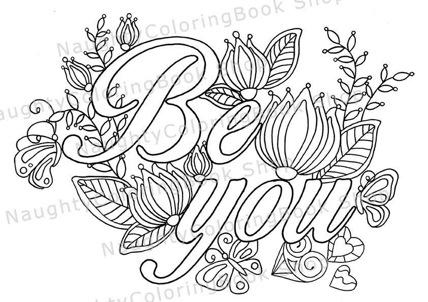 Be You Coloring Page Law Of Attraction Positive Vibes