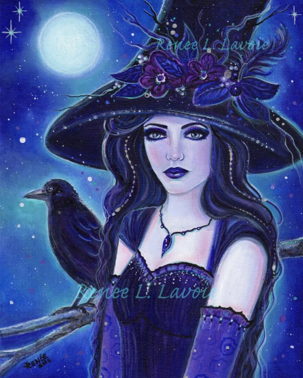 Gothic Art Halloween Witch With Raven Fantasy Print